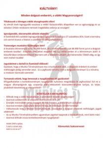 A Közmunkások Szakszervezetésnek kiáltványa.